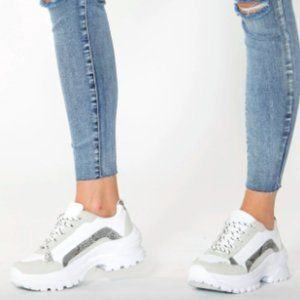 Decjuba Imogen White Chunky Sneakers Size 40-41